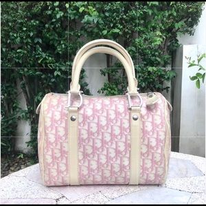 💯AUTH DIOR PINK TROTTER BOSTON BAG OBLIQUE LOGO